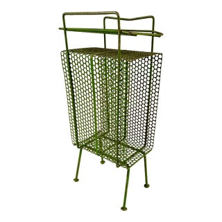 Mid-Century Modern Perforated Atomic Metal Green Magazine Holder/Side Table For Sale