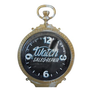 1800s Double Sided Cast Iron Advertising Clock Sign For Sale