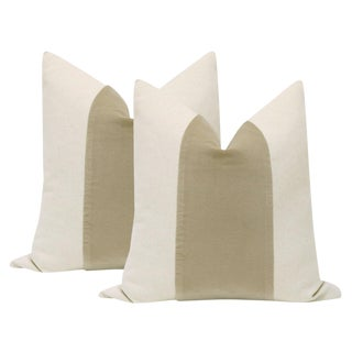 "22"" Stone Velvet Panel & Linen Pillows - a Pair"