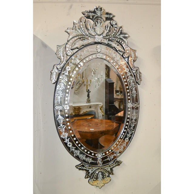 Venetian Etched Glass Wall Mirror, Circa 1940 For Sale In Dallas - Image 6 of 8