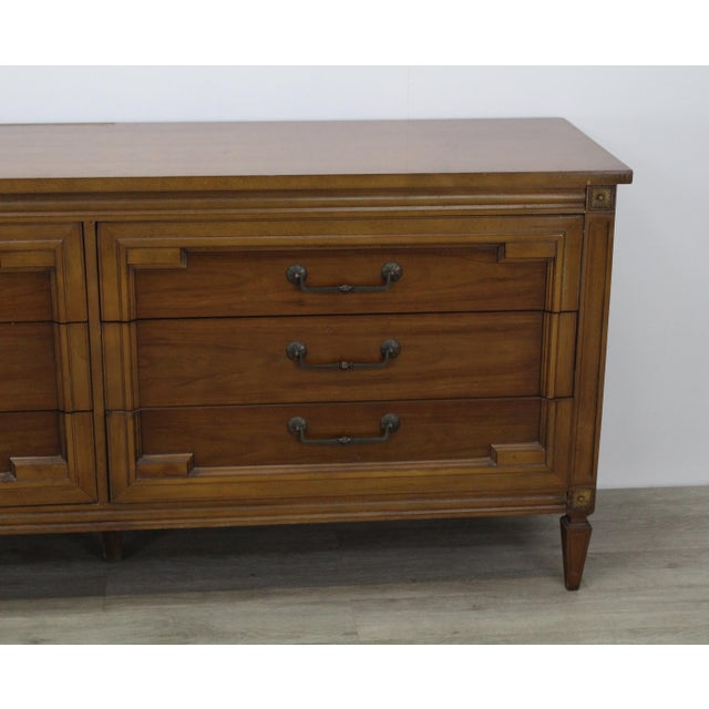 Brass Mid-Century Modern Walnut Six Dresser With Brass Hardware For Sale - Image 7 of 12