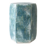 Image of Paul Schneider Ceramic Hexagonal Stool in Drip Brushed Turquoise Crackle Drip Glaze For Sale