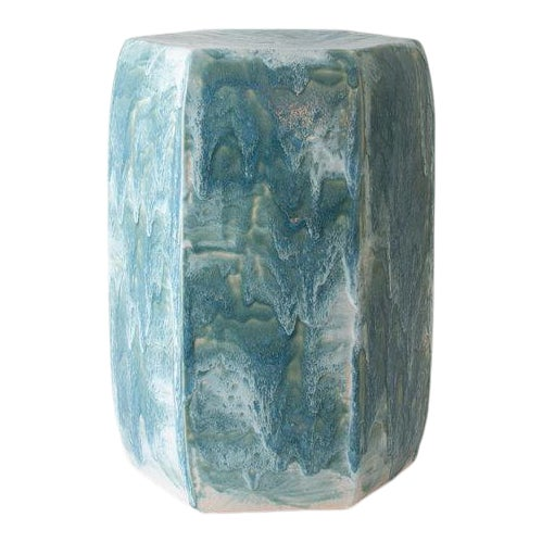 Paul Schneider Ceramic Hexagonal Stool in Drip Brushed Turquoise Crackle Drip Glaze For Sale