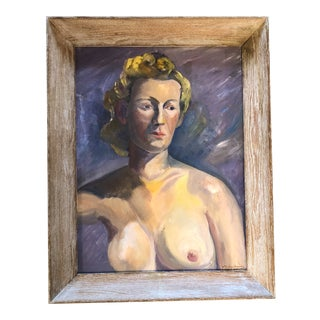 Original Vintage 1930's Female Nude Portrait Painting Signed For Sale