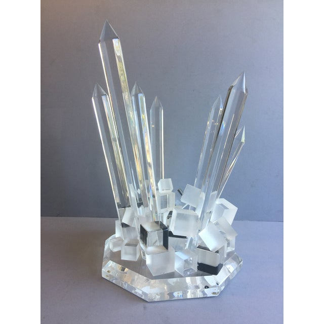 Large Modern Lucite Abstract Quartz/Crystal Shape Magnificent Sculpture For Sale - Image 11 of 13