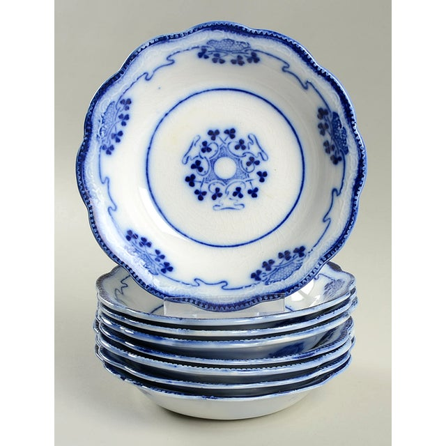 White Antique Grindley Lorne (Flow Blue) Small Bowl - Set of 8 For Sale - Image 8 of 8