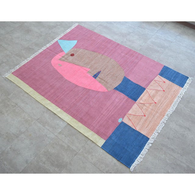 Art Deco Paul Klee - Clown - Inspired Silk Hand Woven Area - Wall Rug 4′4″ × 5′10″ For Sale - Image 3 of 11