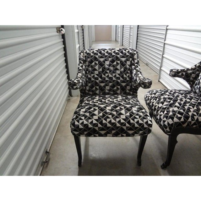 1980s James Mont Inspired Ebonized Chairs With Hoof Feet-A Pair For Sale - Image 5 of 13