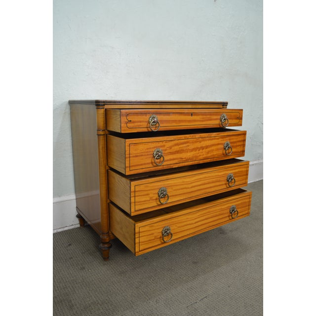 Kittinger Regency Style Pair of Satin Wood Chests of Drawers For Sale - Image 9 of 13