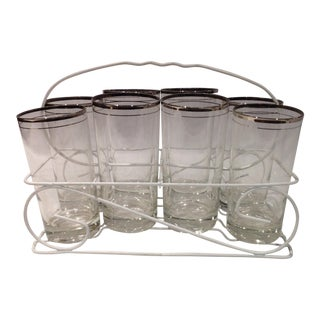 Mid-Century Glasses With Caddy - Set of 6