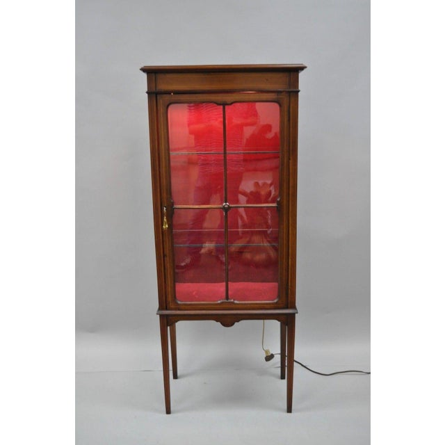 Item: Small Antique Mahogany & Glass Edwardian Inlaid Curio Cabinet  Details: Mahogany case, - Small Antique Edwardian Mahogany & Glass Inlaid Curio Cabinet