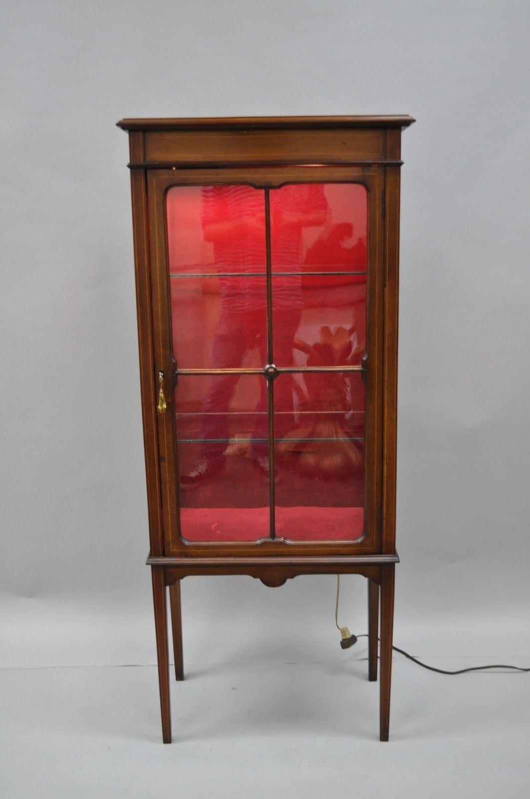 Marvelous Small Antique Edwardian Mahogany U0026 Glass Inlaid Curio Cabinet Display  Etagere   Image 2 Of 13