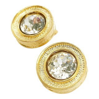 Textured Round Crystal Earrings by Kenneth Jay Lane For Sale
