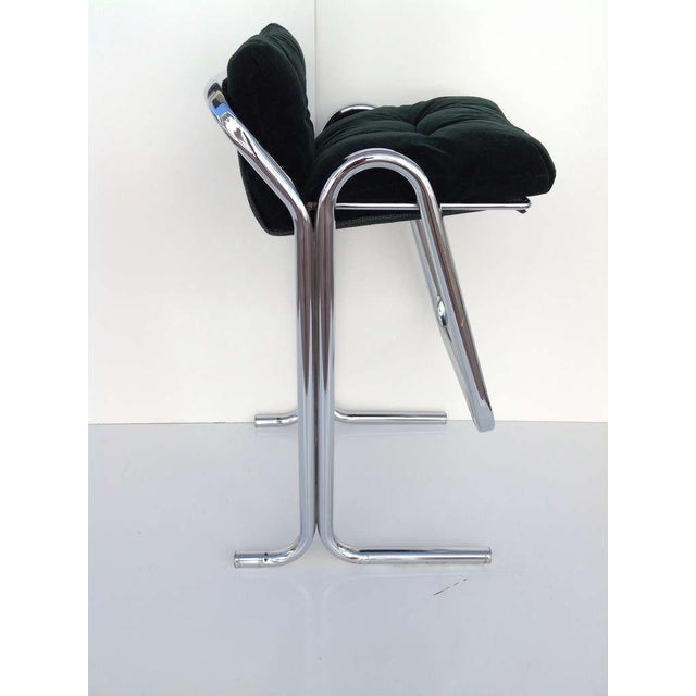 Chrome Plush Green & Chrome Bar Stools Designed by Jerry Johnson - Set of 3 For Sale - Image 7 of 9