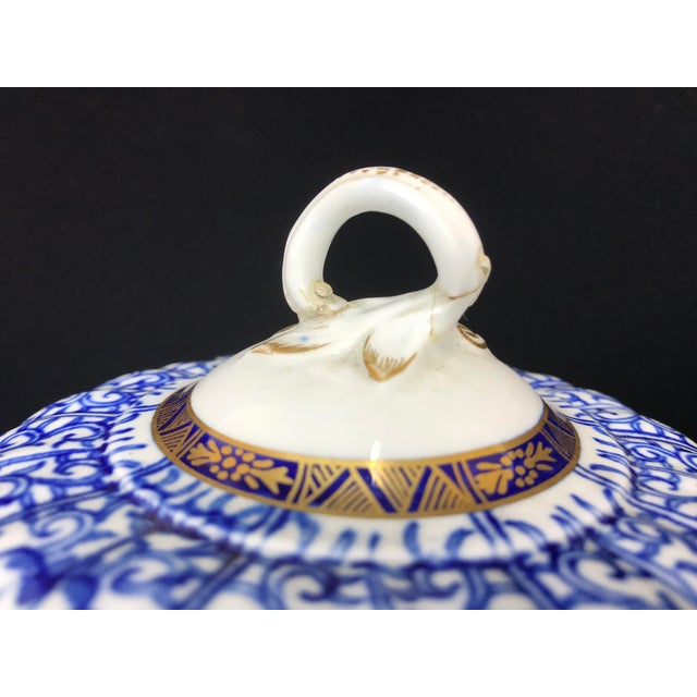 19th Century Victorian Blue & White China Lidded Serving Dishes - a Pair For Sale - Image 10 of 11