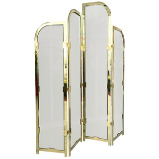 Brass and Bronzed Glass Screen Divider by Design Institute of America For Sale