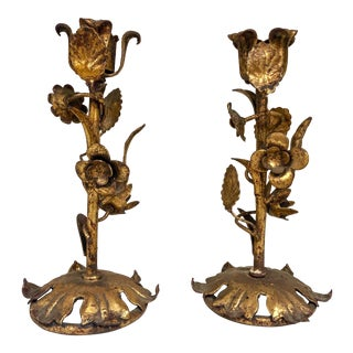 Italian Gilt Metal Tole Candlesticks For Sale