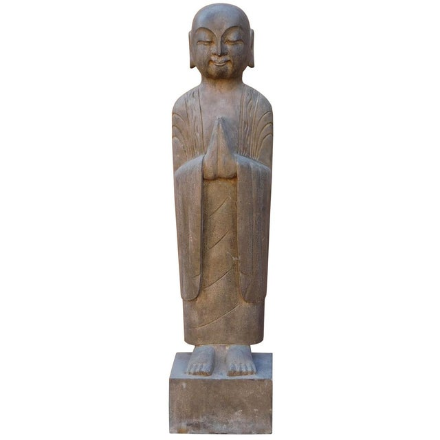 Chinese Stone Carved Monk Lohon Statue - Image 1 of 7