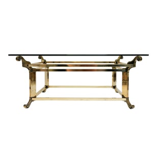 Square Brass & Glass Coffee Table For Sale