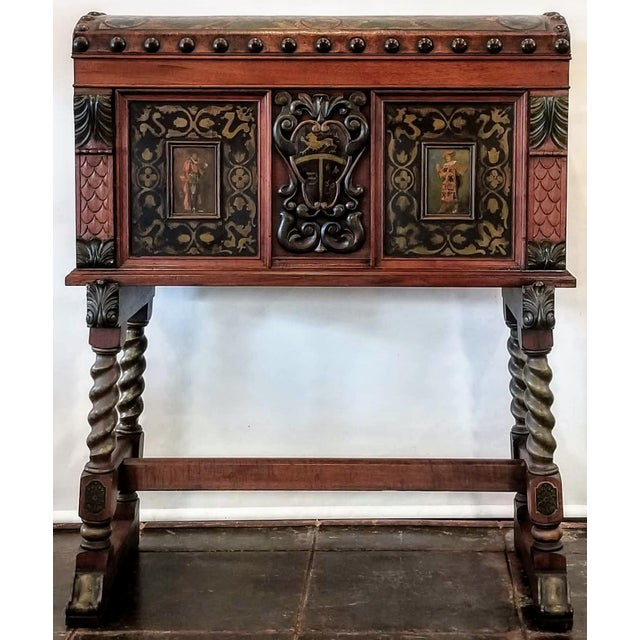 Jacobean Spanish Colonial Revival Painted Leather and Wood Drop-Front Desk on Stand and Chair For Sale - Image 3 of 13