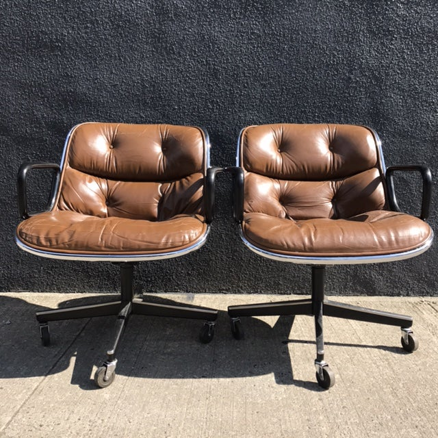 Charles Pollock for Knoll Brown Leather Office Chairs - a Pair - Image 5 of 7