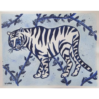 White Tiger Chinoiserie Jungle Painting by Cleo Plowden For Sale