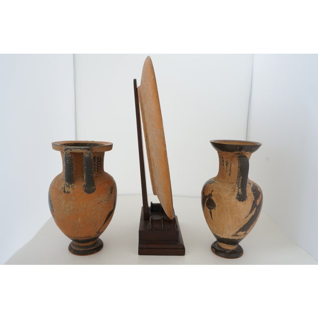 Vintage 1930s Ancient Greek Painted Terra Cotta Garniture - Charger Plate and Two Vases For Sale - Image 4 of 13