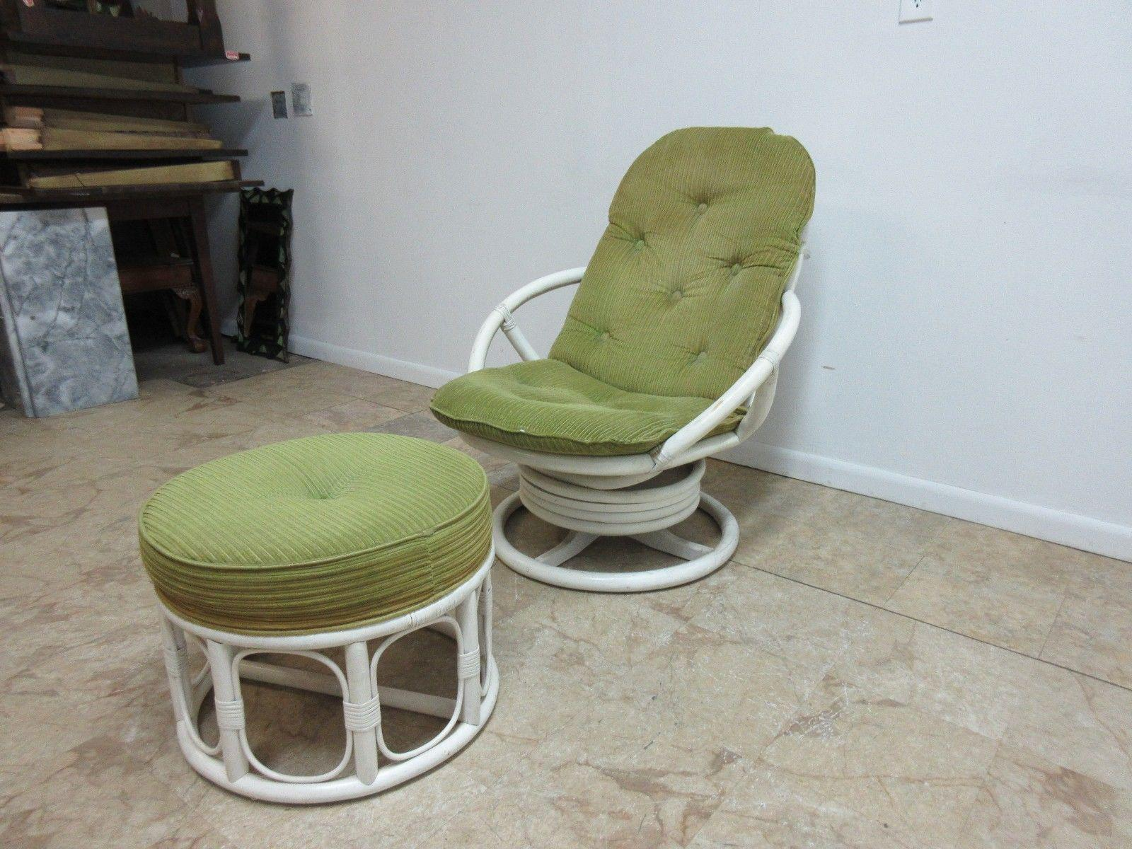 Vintage Mid Century Rattan Bamboo Clarke Casual Lounge Chair And Ottoman    Image 2 Of
