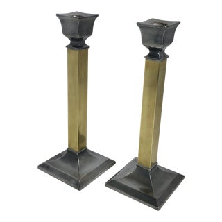 Pair of Brass and Pewter Candle Holders Traditional Vintage Poole Silver Co. For Sale