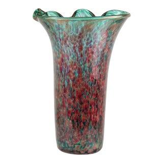 Fratelli Toso Murano Amethyst Green Aventurine Italian Art Glass Flower Vase For Sale