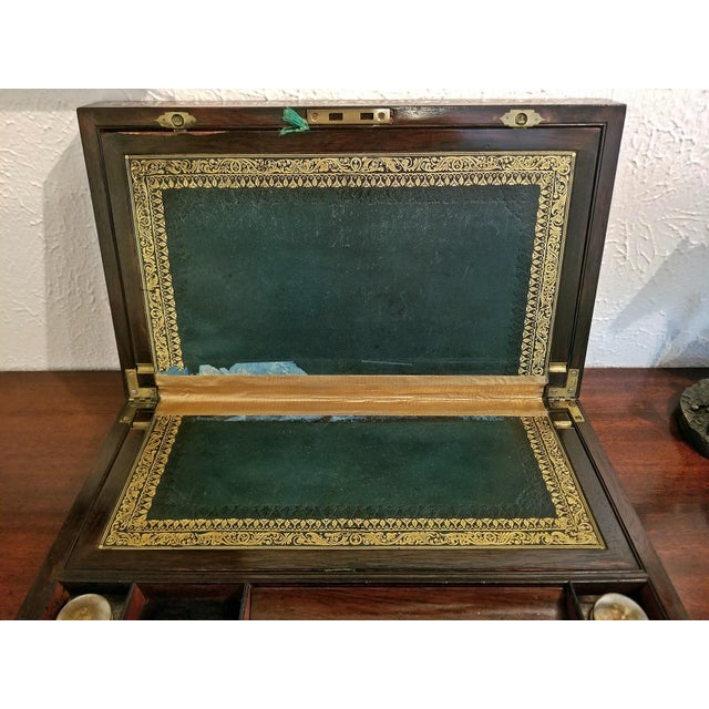 Mid 19th Century 19c British Rosewood Campaign Writing Slope For Sale - Image 5 of 11