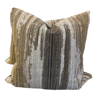 """Waterfall Gros Point Velvet 22"""" Pillows-A Pair For Sale"""