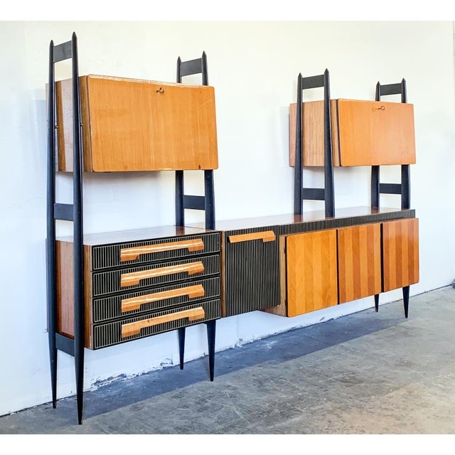 Mid-Century Modern Large Italian Modern Wall Unit, Italy, 1950's For Sale - Image 3 of 11