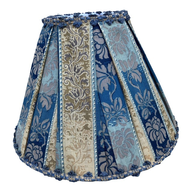 Antique Fabric Blue Pleated Lampshade For Sale