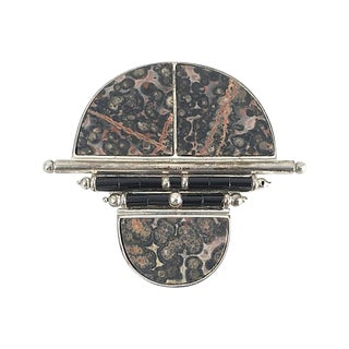 Naturalistic Stone, Onyx & Silver Brooch For Sale