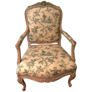 Louis XVI Style Chinoiserie Upholstered Armchair