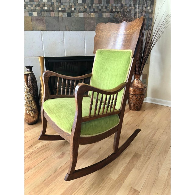 Late 19th Century Late 19th Century Antique Oak Wood Mortise and Tenon Upholstered Rocking Chair For Sale - Image 5 of 13