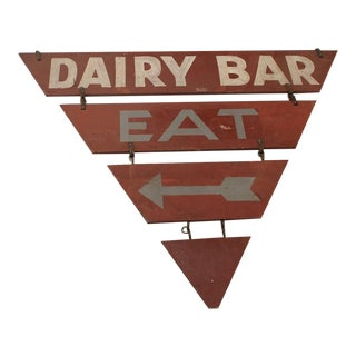 """Vintage Double-Sided """"Dairy Bar Eat"""" Sign For Sale"""