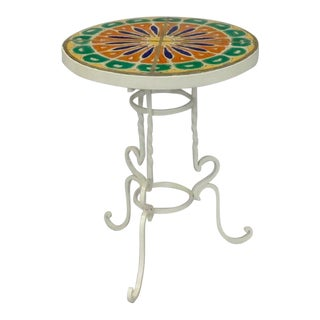 Wrought Iron Base California Tile Top Table For Sale