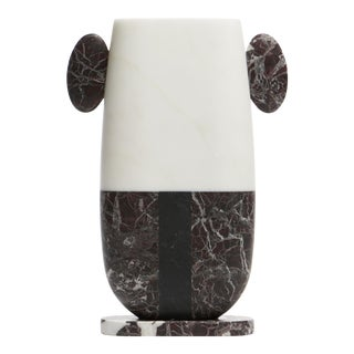 Vase in Red Black and White Marble by Matteo Cibic, Made in Italy For Sale
