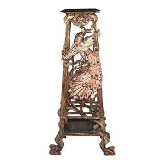 19th Century Italian Venetian Grotto Peacock Pedestal For Sale