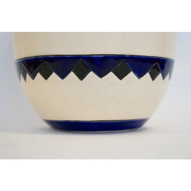 Ceramic Rare Cobalt and Cream Charles Catteau Vase For Sale - Image 7 of 8