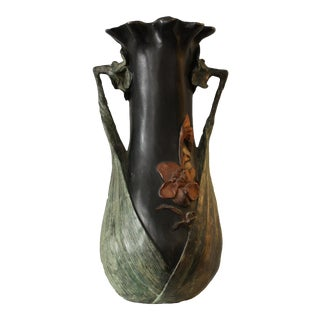 Antique Art Nouveau Bronze Enamel Hand-Painted Lily Flowers Vase in the Style of Daum Nancy From Belgium For Sale