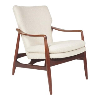 Sculptural Ib Kofod Larsen Midcentury Teak Frame Lounge Armchair From Denmark For Sale