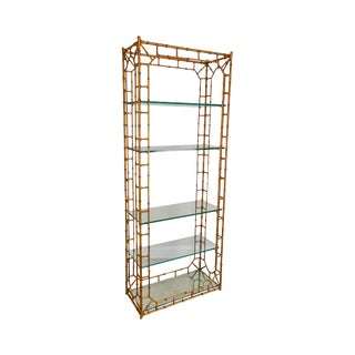 Hollywood Regency Quality Faux Bamboo Gilt Metal & Glass Etagere For Sale