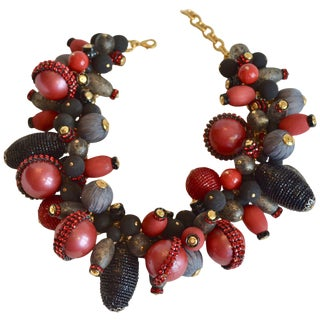Francoise Montague Red, Grey, and Black Statement Choker Necklace For Sale