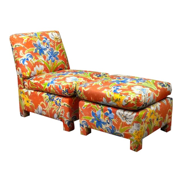 Final Markdown Blue Lillies With Sunshine Custom Chair & Ottoman - a Pair - Image 1 of 3