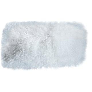 Mongolian Sheepskin White Lumbar Pillow For Sale