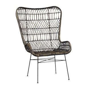 Ebony Wash Wicker Butterfly Chair For Sale