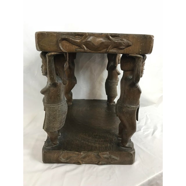 Wood 20th Century Tribal Single Log Carved Stool For Sale - Image 7 of 9